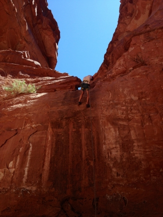 Jonno rappelling in Larry's Canyon